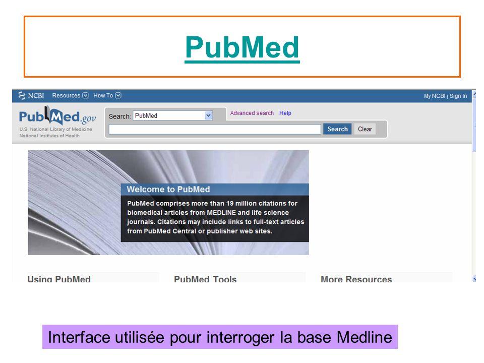 PubMed Interface utilisée pour interroger la base Medline