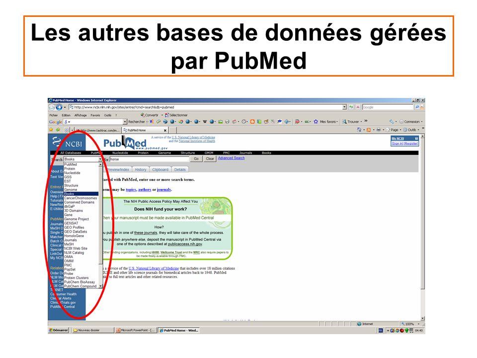 Les autres bases de données gérées par PubMed