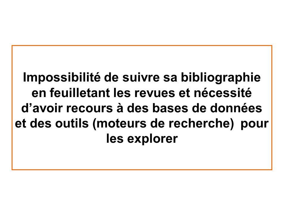 Impossibilité de suivre sa bibliographie en feuilletant les revues et nécessité davoir recours à des bases de données et des outils (moteurs de recher