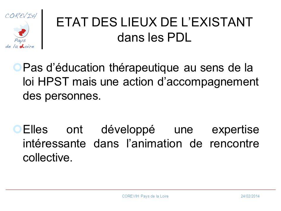 24/02/2014COREVIH Pays de la Loire ETAT DES LIEUX DE LEXISTANT dans les PDL Pas déducation thérapeutique au sens de la loi HPST mais une action daccom