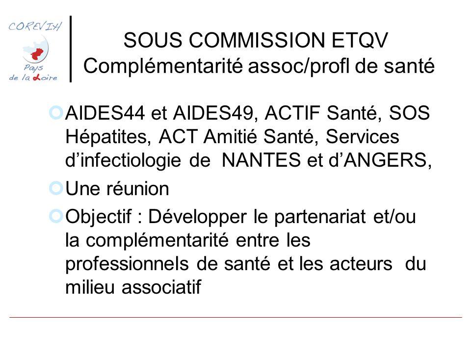 SOUS COMMISSION ETQV Complémentarité assoc/profl de santé AIDES44 et AIDES49, ACTIF Santé, SOS Hépatites, ACT Amitié Santé, Services dinfectiologie de