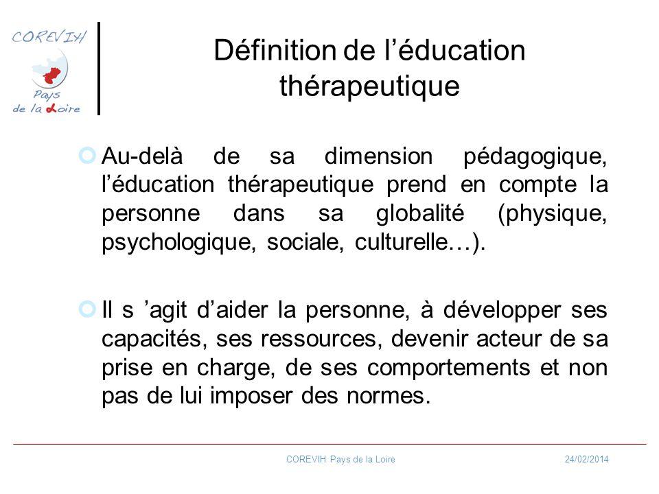 24/02/2014COREVIH Pays de la Loire Définition de lEducation thérapeutique Elle nécessite une démarche éducative personnalisée mise en œuvre par une équipe multi professionnelle et interdisciplinaire formée et structurée.