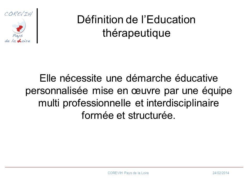 24/02/2014COREVIH Pays de la Loire Définition de lEducation thérapeutique Elle nécessite une démarche éducative personnalisée mise en œuvre par une éq
