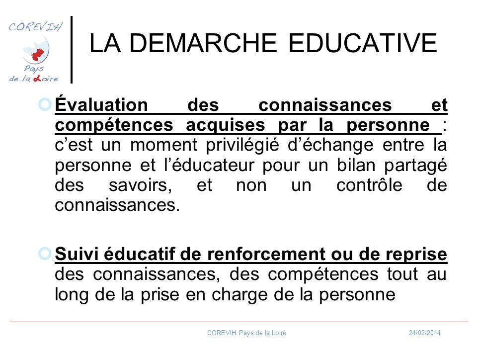 24/02/2014COREVIH Pays de la Loire LA DEMARCHE EDUCATIVE Évaluation des connaissances et compétences acquises par la personne : cest un moment privilé