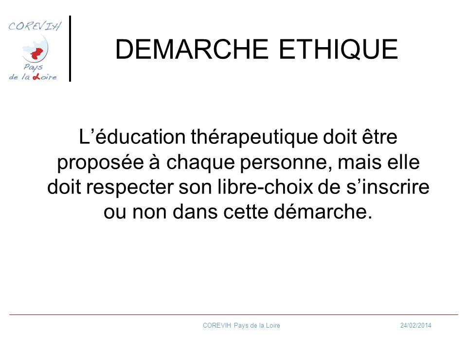 24/02/2014COREVIH Pays de la Loire DEMARCHE ETHIQUE Léducation thérapeutique doit être proposée à chaque personne, mais elle doit respecter son libre-