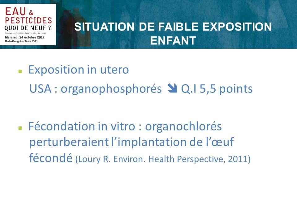 SITUATION DE FAIBLE EXPOSITION ENFANT n Exposition in utero USA : organophosphorés Q.I 5,5 points n Fécondation in vitro : organochlorés perturberaien