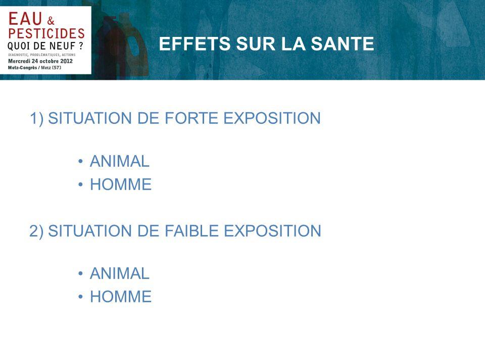 EFFETS SUR LA SANTE 1) SITUATION DE FORTE EXPOSITION ANIMAL HOMME 2) SITUATION DE FAIBLE EXPOSITION ANIMAL HOMME