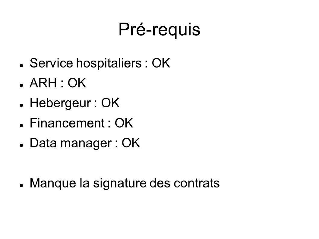 Pré-requis Service hospitaliers : OK ARH : OK Hebergeur : OK Financement : OK Data manager : OK Manque la signature des contrats