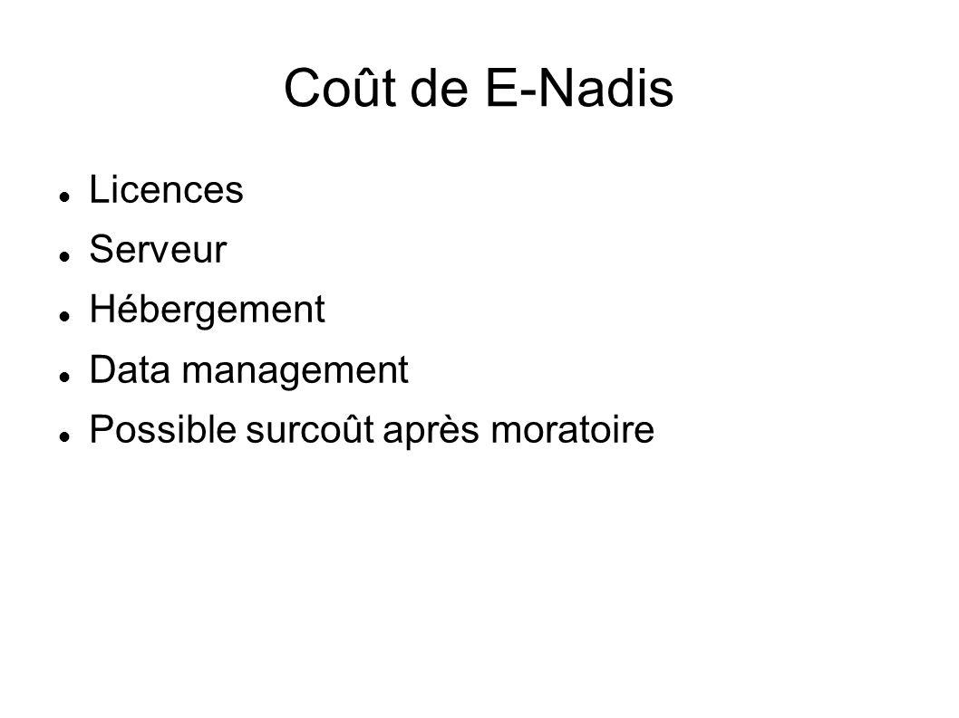 Coût de E-Nadis Licences Serveur Hébergement Data management Possible surcoût après moratoire