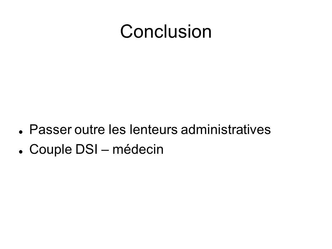 Conclusion Passer outre les lenteurs administratives Couple DSI – médecin