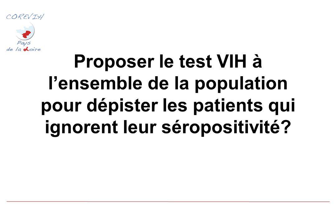 Proposer le test VIH à lensemble de la population pour dépister les patients qui ignorent leur séropositivité