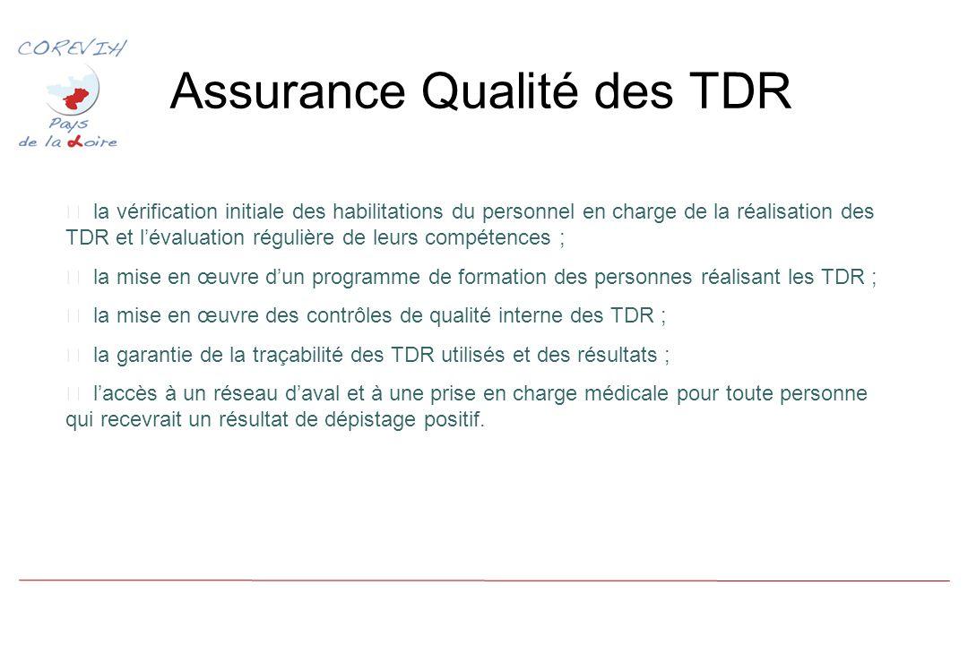 Assurance Qualité des TDR la vérification initiale des habilitations du personnel en charge de la réalisation des TDR et lévaluation régulière de leurs compétences ; la mise en œuvre dun programme de formation des personnes réalisant les TDR ; la mise en œuvre des contrôles de qualité interne des TDR ; la garantie de la traçabilité des TDR utilisés et des résultats ; laccès à un réseau daval et à une prise en charge médicale pour toute personne qui recevrait un résultat de dépistage positif.
