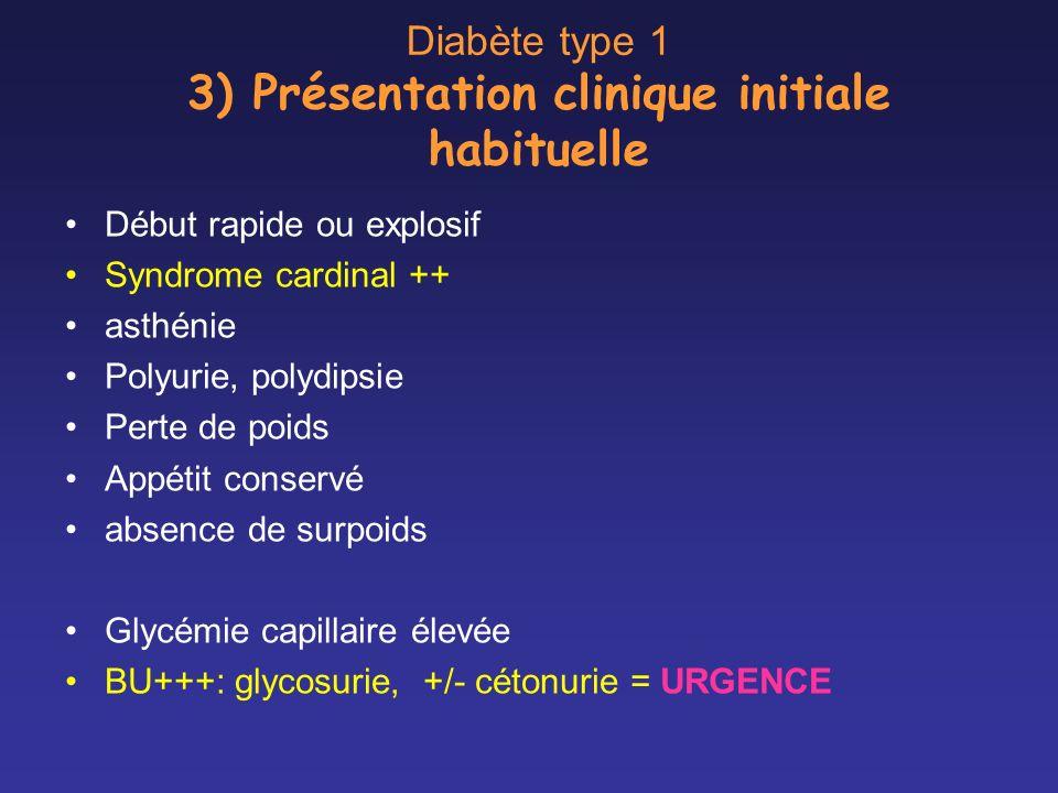 Diabète type 1 3) Présentation clinique initiale habituelle Début rapide ou explosif Syndrome cardinal ++ asthénie Polyurie, polydipsie Perte de poids