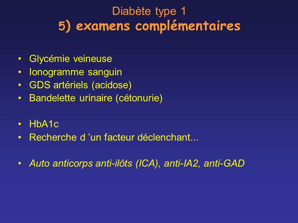 Diabète type 1 5 ) examens complémentaires Glycémie veineuse Ionogramme sanguin GDS artériels (acidose) Bandelette urinaire (cétonurie) HbA1c Recherch
