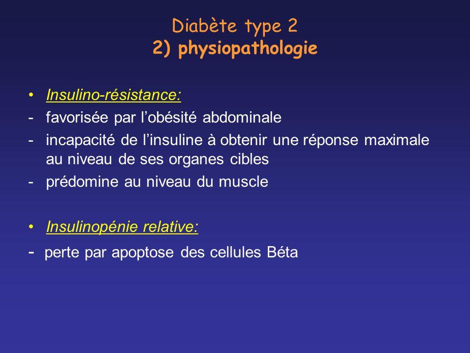 Diabète type 2 2) physiopathologie Insulino-résistance: -favorisée par lobésité abdominale -incapacité de linsuline à obtenir une réponse maximale au