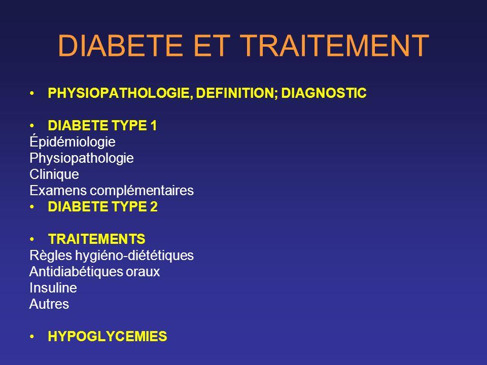 DIABETE ET TRAITEMENT PHYSIOPATHOLOGIE, DEFINITION; DIAGNOSTIC DIABETE TYPE 1 Épidémiologie Physiopathologie Clinique Examens complémentaires DIABETE