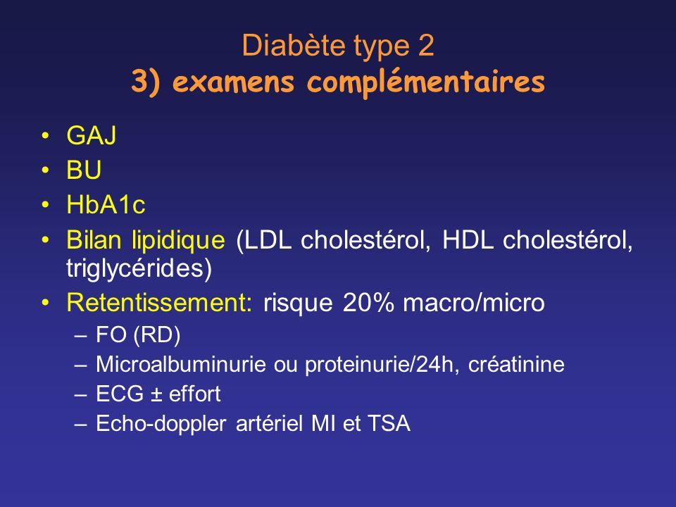 Diabète type 2 3) examens complémentaires GAJ BU HbA1c Bilan lipidique (LDL cholestérol, HDL cholestérol, triglycérides) Retentissement: risque 20% ma