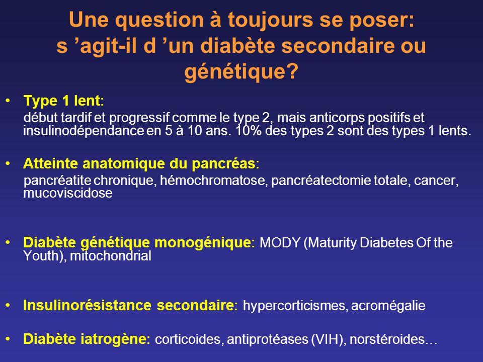 Une question à toujours se poser: s agit-il d un diabète secondaire ou génétique? Type 1 lent: début tardif et progressif comme le type 2, mais antico