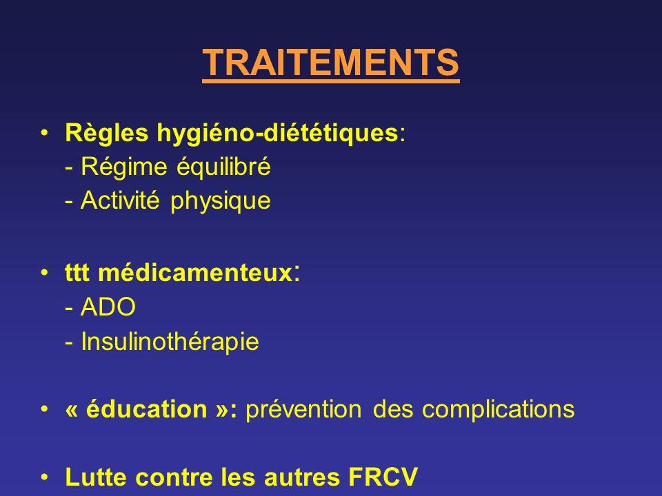 TRAITEMENTS Règles hygiéno-diététiques: - Régime équilibré - Activité physique ttt médicamenteux : - ADO - Insulinothérapie « éducation »: prévention