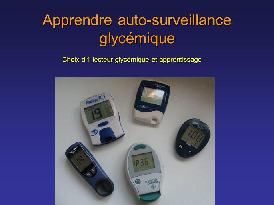 Apprendre auto-surveillance glycémique Choix d1 lecteur glycémique et apprentissage