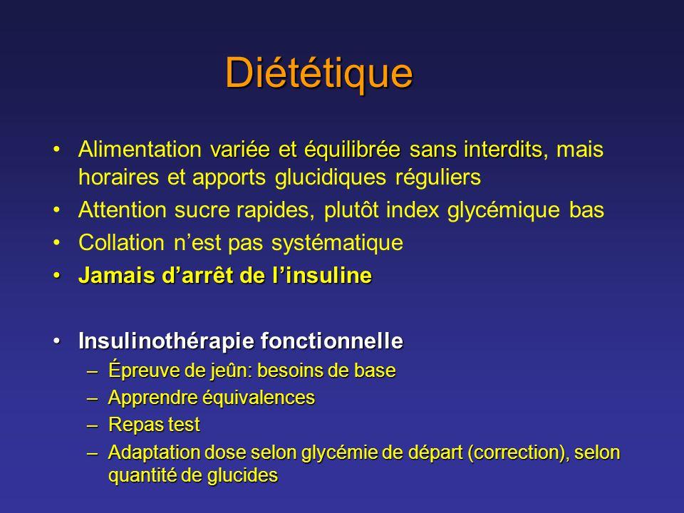 Diététique variée et équilibrée sans interditsAlimentation variée et équilibrée sans interdits, mais horaires et apports glucidiques réguliers Attenti