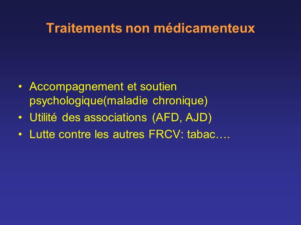 Traitements non médicamenteux Accompagnement et soutien psychologique(maladie chronique) Utilité des associations (AFD, AJD) Lutte contre les autres F