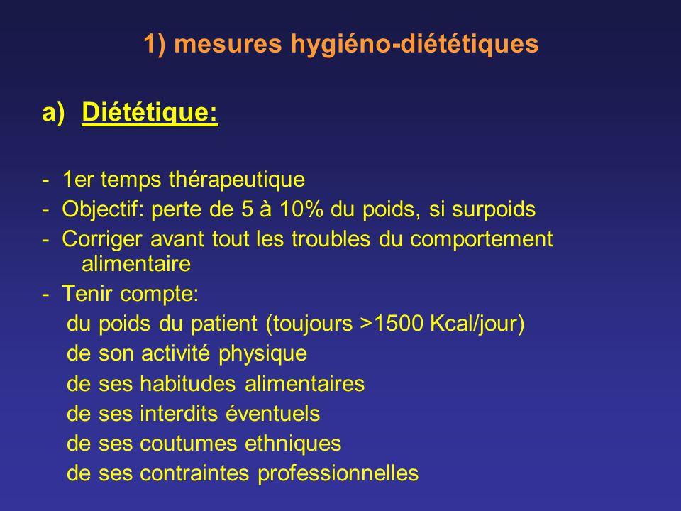 1) mesures hygiéno-diététiques a)Diététique: - 1er temps thérapeutique - Objectif: perte de 5 à 10% du poids, si surpoids - Corriger avant tout les tr