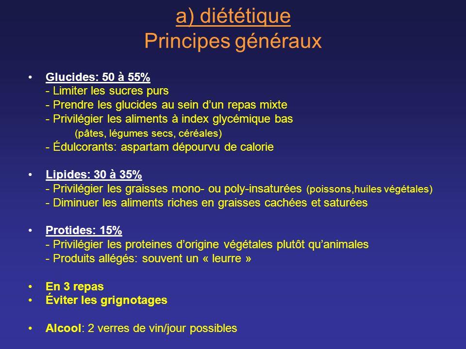 a) diététique Principes généraux Glucides: 50 à 55% - Limiter les sucres purs - Prendre les glucides au sein dun repas mixte - Privilégier les aliment