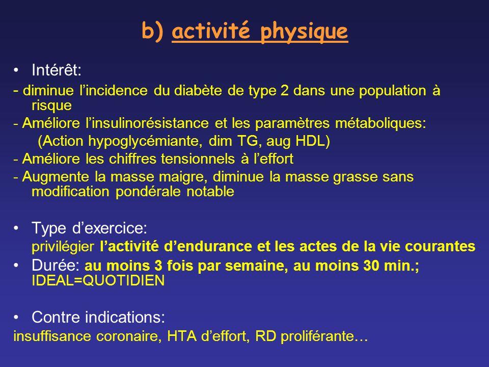 b) activité physique Intérêt: - diminue lincidence du diabète de type 2 dans une population à risque - Améliore linsulinorésistance et les paramètres
