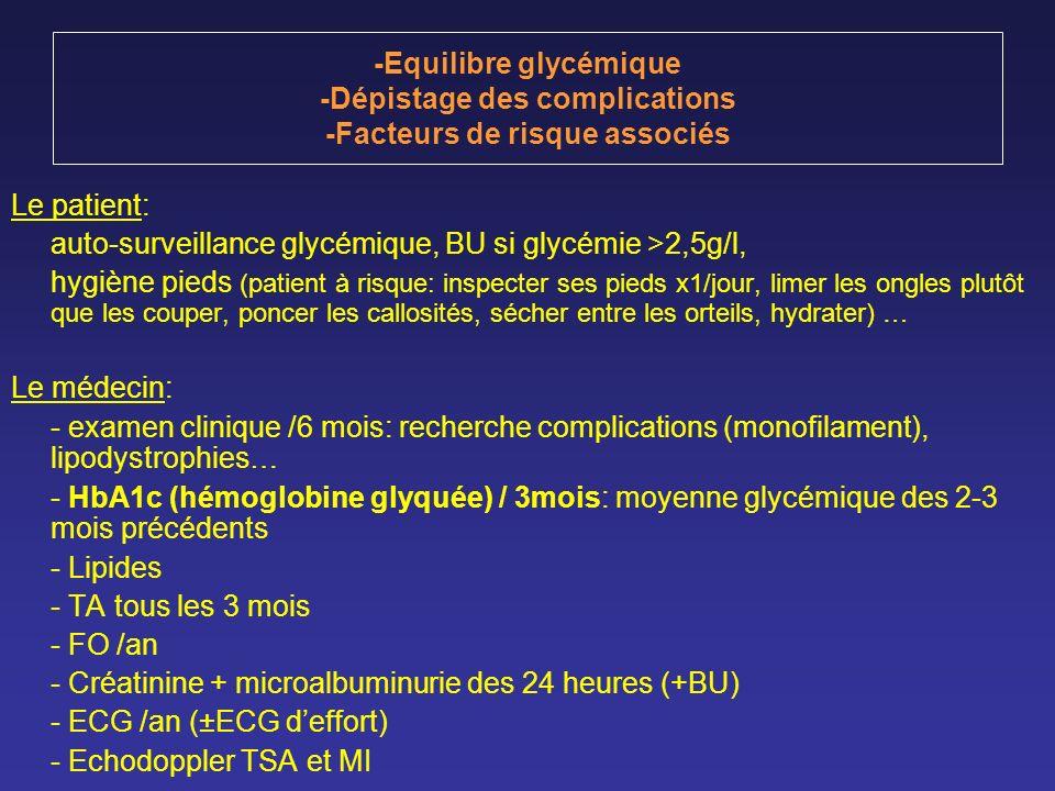 -Equilibre glycémique -Dépistage des complications -Facteurs de risque associés Le patient: auto-surveillance glycémique, BU si glycémie >2,5g/l, hygi