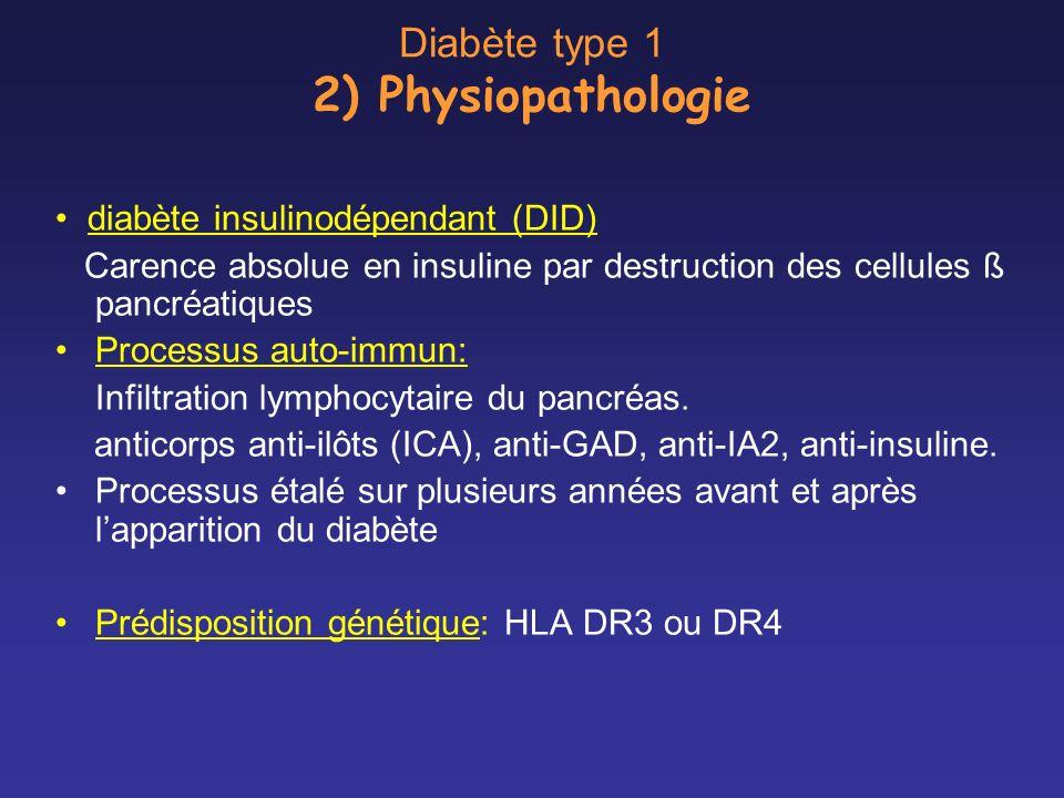 Diabète type 1 2) Physiopathologie diabète insulinodépendant (DID) Carence absolue en insuline par destruction des cellules ß pancréatiques Processus