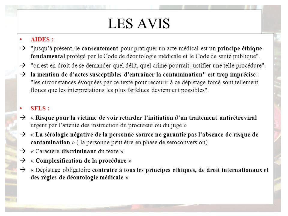 LES AVIS AIDES : jusquà présent, le consentement pour pratiquer un acte médical est un principe éthique fondamental protégé par le Code de déontologie médicale et le Code de santé publique .