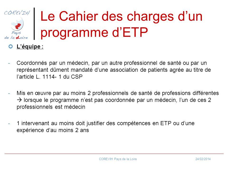24/02/2014COREVIH Pays de la Loire Le Cahier des charges dun programme dETP Léquipe : -Coordonnés par un médecin, par un autre professionnel de santé