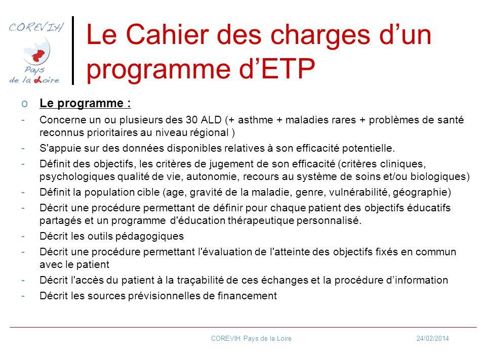 24/02/2014COREVIH Pays de la Loire Le Cahier des charges dun programme dETP oLe programme : -Concerne un ou plusieurs des 30 ALD (+ asthme + maladies