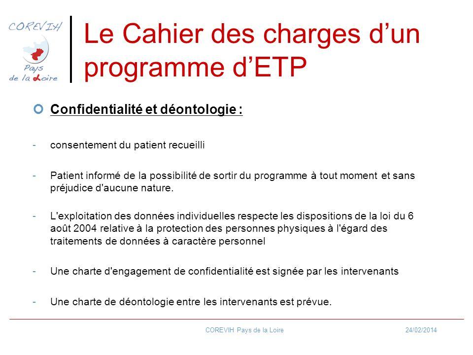 24/02/2014COREVIH Pays de la Loire Le Cahier des charges dun programme dETP Confidentialité et déontologie : -consentement du patient recueilli -Patie