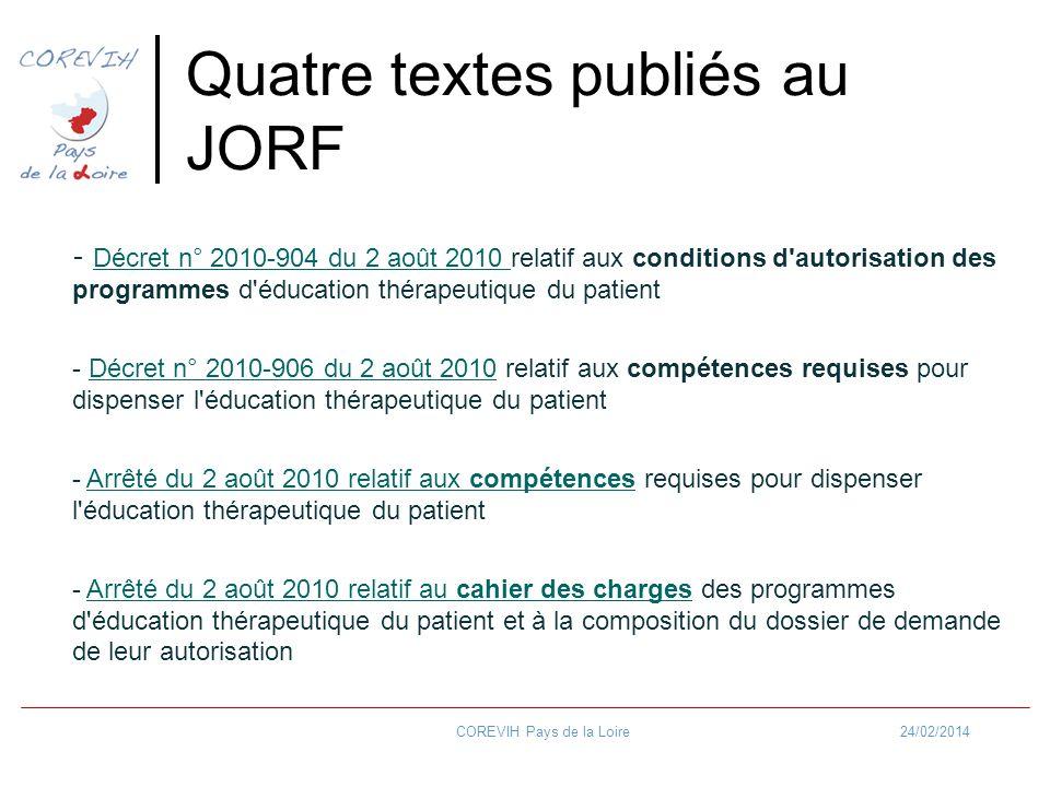 24/02/2014COREVIH Pays de la Loire Quatre textes publiés au JORF - Décret n° 2010-904 du 2 août 2010 relatif aux conditions d'autorisation des program