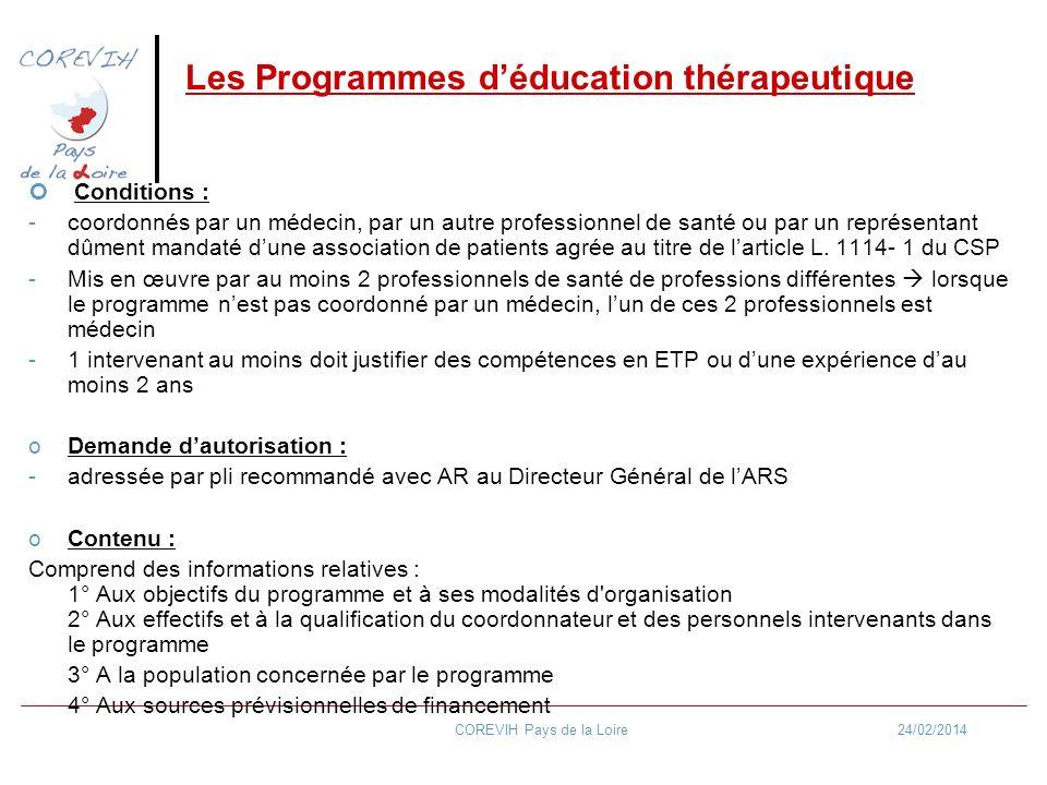24/02/2014COREVIH Pays de la Loire Les Programmes déducation thérapeutique Conditions : -coordonnés par un médecin, par un autre professionnel de sant