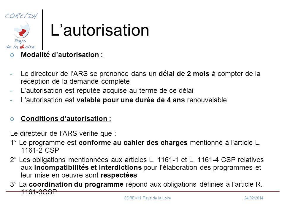 24/02/2014COREVIH Pays de la Loire Lautorisation oModalité dautorisation : -Le directeur de lARS se prononce dans un délai de 2 mois à compter de la r