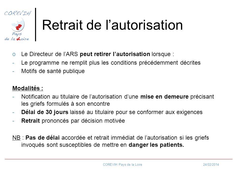 24/02/2014COREVIH Pays de la Loire Retrait de lautorisation oLe Directeur de lARS peut retirer lautorisation lorsque : -Le programme ne remplit plus l
