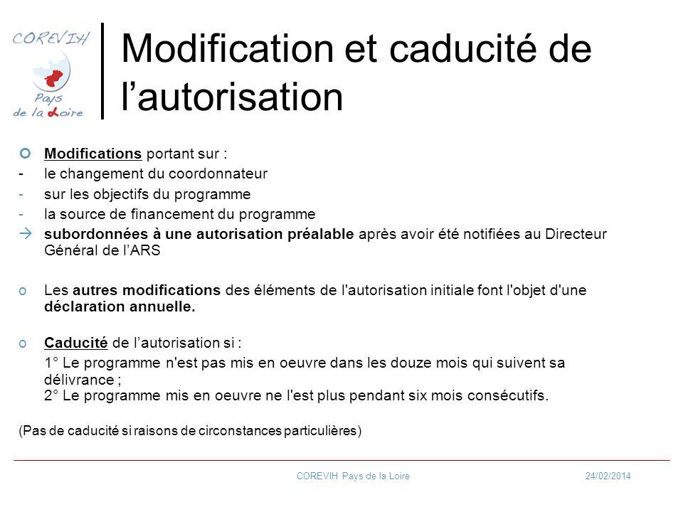 24/02/2014COREVIH Pays de la Loire Modification et caducité de lautorisation Modifications portant sur : - le changement du coordonnateur -sur les obj