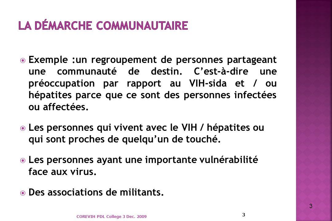Exemple :un regroupement de personnes partageant une communauté de destin. Cest-à-dire une préoccupation par rapport au VIH-sida et / ou hépatites par
