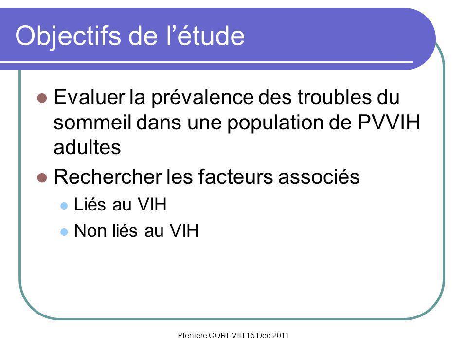 Plénière COREVIH 15 Dec 2011 Objectifs de létude Evaluer la prévalence des troubles du sommeil dans une population de PVVIH adultes Rechercher les facteurs associés Liés au VIH Non liés au VIH