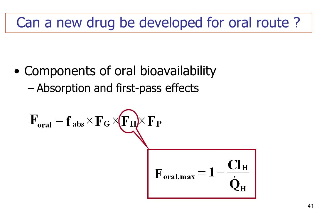 41 Can a new drug be developed for oral route ? Components of oral bioavailability –Absorption and first-pass effects