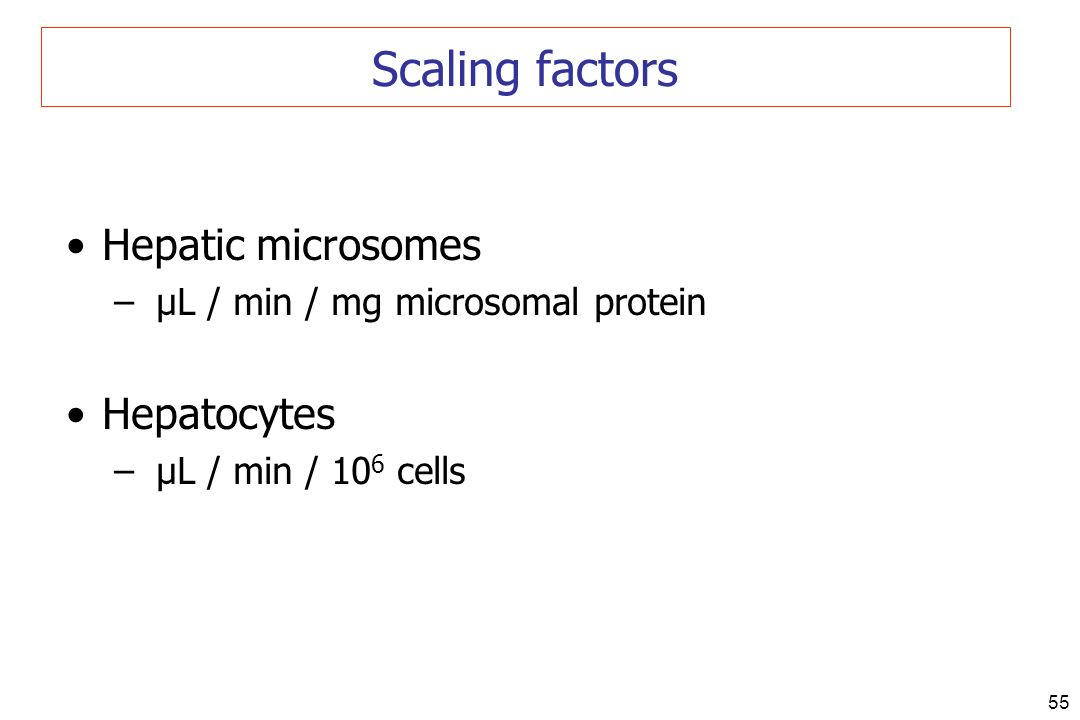 55 Hepatic microsomes – µL / min / mg microsomal protein Hepatocytes – µL / min / 10 6 cells Scaling factors