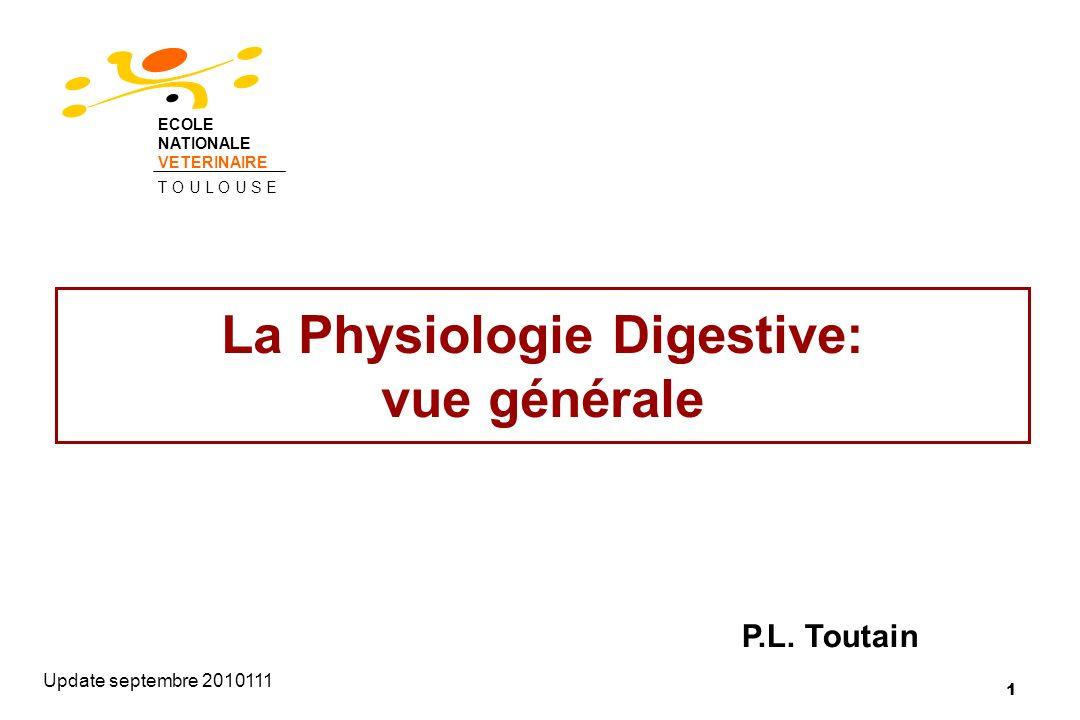 1 La Physiologie Digestive: vue générale Update septembre 2010111 P.L. Toutain ECOLE NATIONALE VETERINAIRE T O U L O U S E
