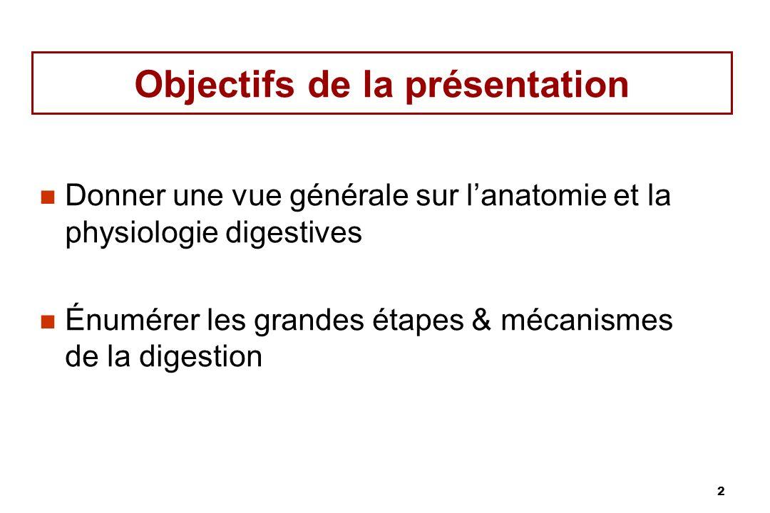 2 Objectifs de la présentation Donner une vue générale sur lanatomie et la physiologie digestives Énumérer les grandes étapes & mécanismes de la diges