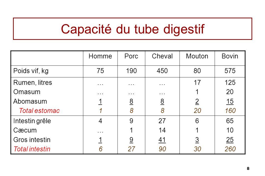 8 Capacité du tube digestif HommePorcChevalMoutonBovin Poids vif, kg7519045080575 Rumen, litres Omasum Abomasum Total estomac ……11……11 ……88……88 ……88……