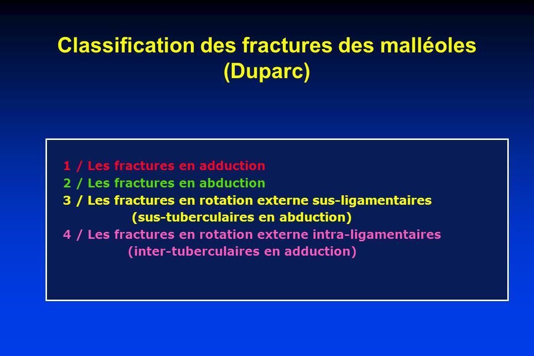 Classification des fractures des malléoles (Duparc) 1 / Les fractures en adduction 2 / Les fractures en abduction 3 / Les fractures en rotation extern