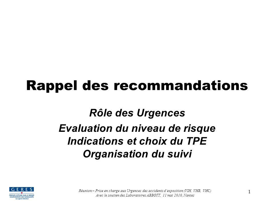 1 Rappel des recommandations Rôle des Urgences Evaluation du niveau de risque Indications et choix du TPE Organisation du suivi Réunion – Prise en cha