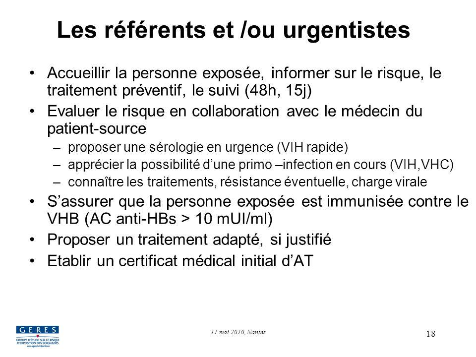 18 Les référents et /ou urgentistes Accueillir la personne exposée, informer sur le risque, le traitement préventif, le suivi (48h, 15j) Evaluer le ri